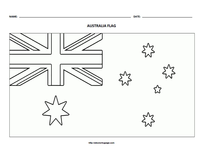 Free Printable Flag of Australia Coloring Page