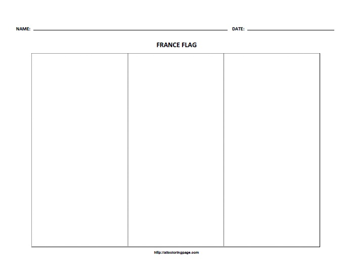 Free Printable Flag of France Coloring Page