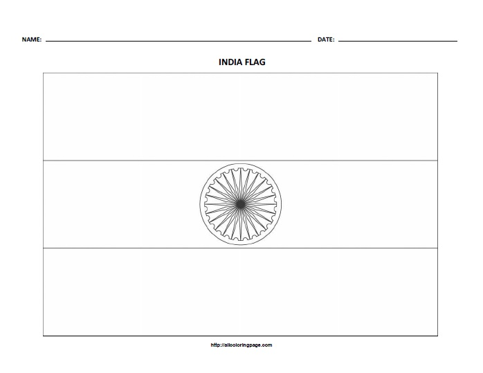 Free Printable Flag of India Coloring Page