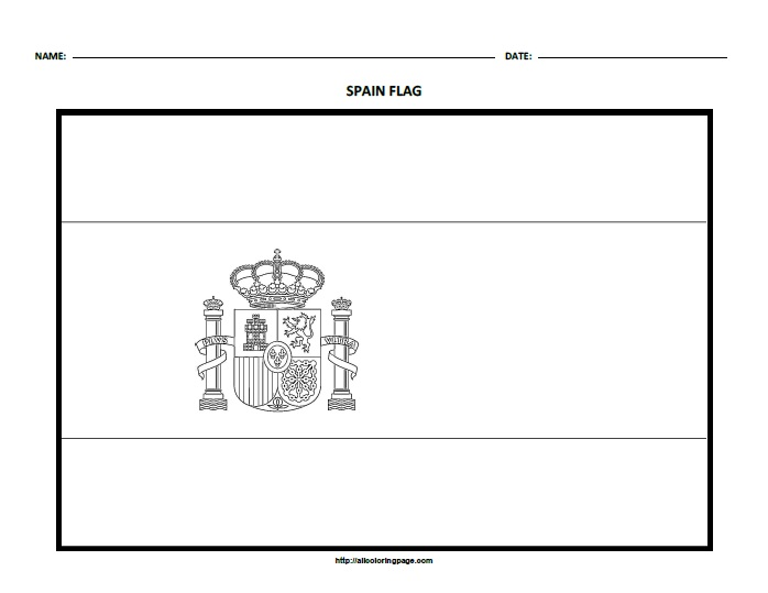 Free Printable Flag of Spain Coloring Page