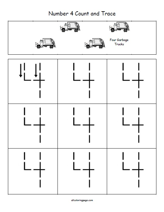 Free Printable Number 4 Count and Trace
