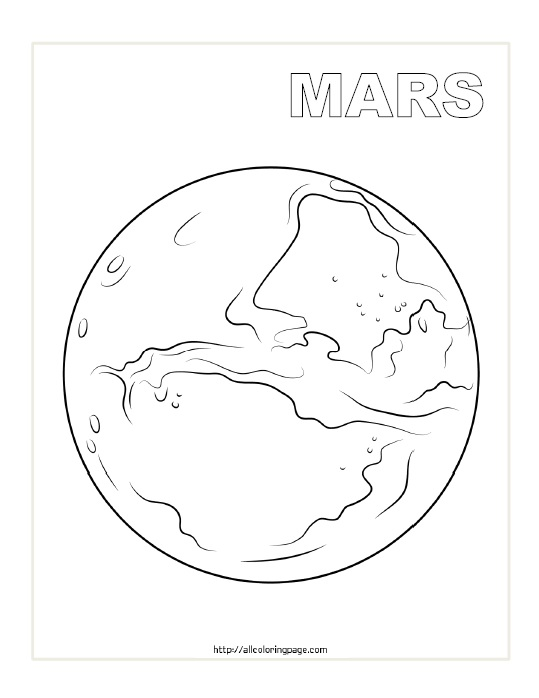Free Printable Planet Mars Coloring Page