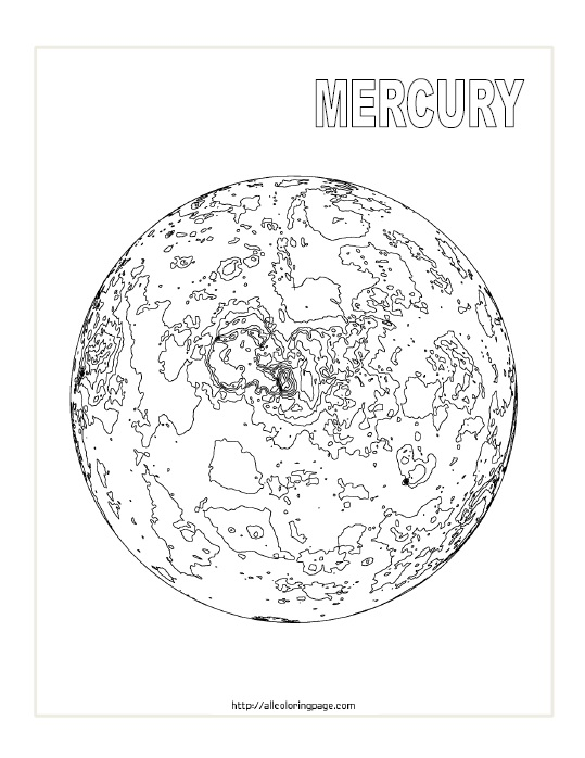 Free Printable Planet Mercury Coloring Page