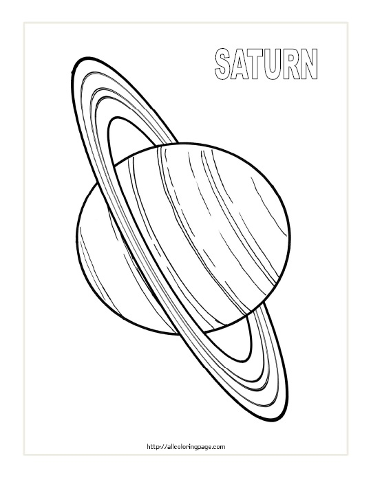 Free Printable Planet Saturn Coloring Page