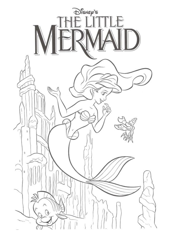 poster the little mermaid coloring page